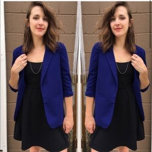 3/4 Long Scrunch Sleeve Royal Blue Blazer